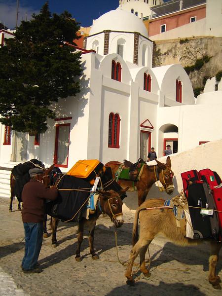 luggage carrier in Fira, Santorini