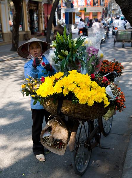 Flower vendor in Hanoi