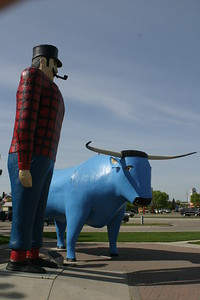 Paul Bunyan and Babe the Blue Ox in downtown Bemidji on my trip to Minnesota to visit Jerry.