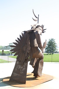 Niimii Indian statue In downtown Bemidji on my trip to Minnesota to visit Jerry.
