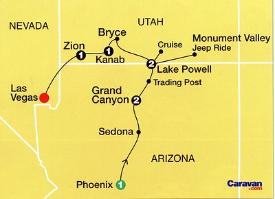 The Caravan Tour (Map) did not begin until after Irene and I had an extra day in Phoenix to see the gardens and zoo, not included in Caravan's itinerary.