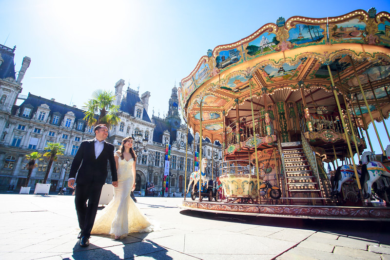 paris carousel pre wedding