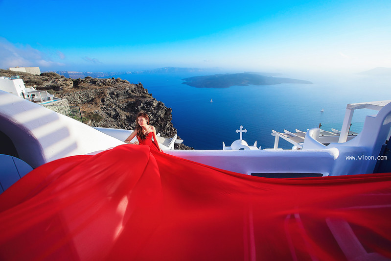 red dress in santorini
