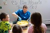 KELLY FLETCHER, REFORMER CORRESPONDENT -- Chris Parker, Food Service Director at Windham Central Supervisory Union, visited the Pre-K group at Miss Marths's Creative Early Learning Program on Wednesday.  Together, they made a wholesome version of macaroni and cheese which they served with fruit, veggies and chocolate milk to the other students and staff.  The goal was get the kids used to seeing a sample of the meals they'll be eating when they move up to Kindergarten in the Fall.