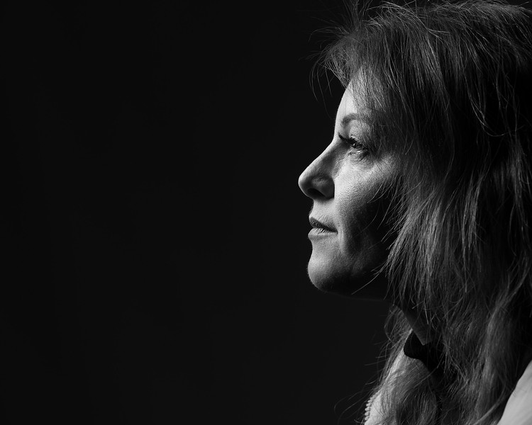 Beautiful black and white capture of a woman's profile