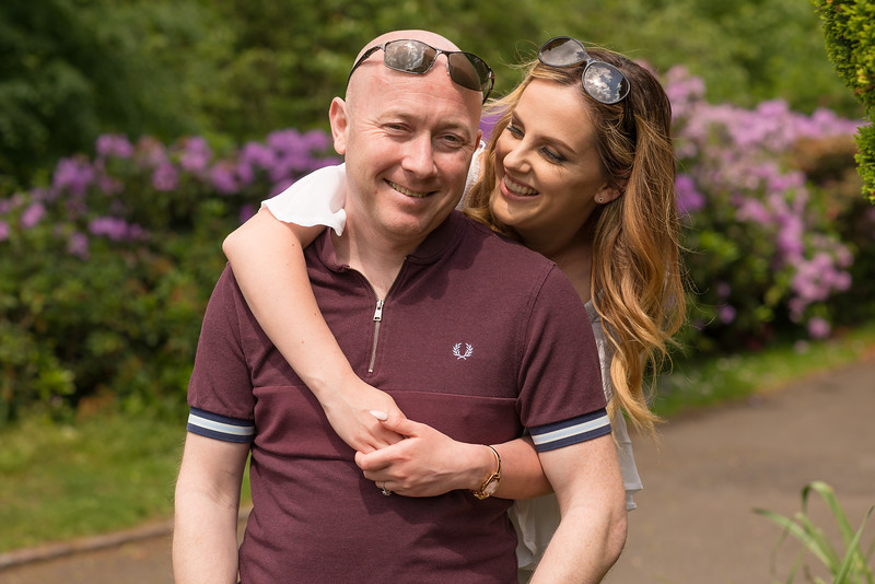 Portrait shot of a fun loving couple in Brampton Park, Newcastle under Lyme, Staffordshire