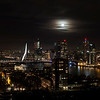 Rotterdam skyline full moon