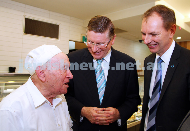 8-8-14. Victorian Premier Denis Napthine at Glick's in Carlisle Street. From left: Mendel Glick, Denis Napthine, David Southwick. Photo: Peter Haskin