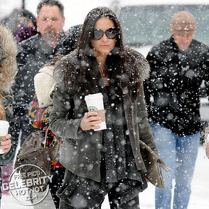 EXCLUSIVE: Demi Moore Braves The Snow With Her Starbucks Coffee, Utah