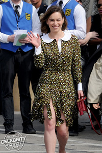 Emilia Clarke Shows Off Bumble Bee Tattoo In Michael Kors Blouse and Skirt, LA