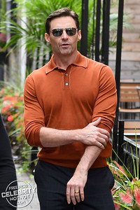 Hugh Jackman In Orange Shirt At TIFF 2018