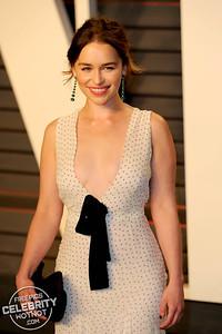 Emilia Clarke Rocks Deep Plunge Miu Miudress At Oscar Party, LA