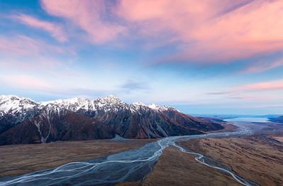 Confluence of Tasman and Hooker Rivers. Tasman Valley, Aoraki Mount Cook National Park