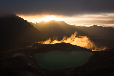 Emerald Lakes and morning sun. Tongariro Alpine Crossing, Tongariro National Park, Central North Island
