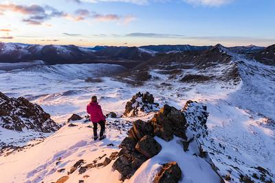 Tramper on Beuzenberg Peak, Stag Saddle, Two Thumb Range, Te Kahui Kaupeka Conservation Area