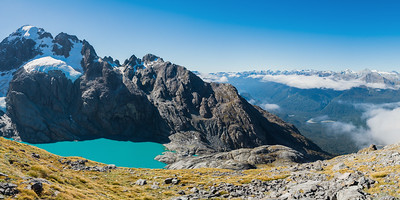 Alice Peak, above Donne Glacier Lake and Glacier Creek. Hollyford Valley and Humboldt Mountains to right, Darran Mountains, Fiordland National Park, New Zealand