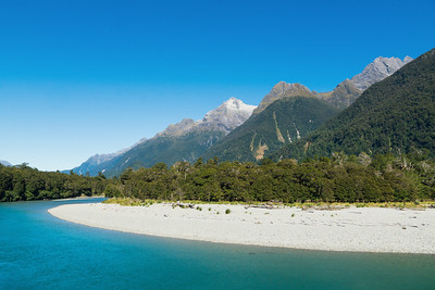 Central Darran Mountain peaks viewed from the Hollyford River, Fiordland National Park, New Zealand