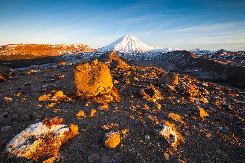 Mount Ngauruhoe  in early morning light, Tongariro Northern Circuit, Tongariro National Park