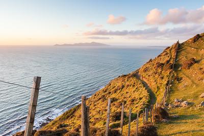 Kapiti Island and Rauoterangi Channel with fenceline and Paekakariki Escarpment Track, Wellington