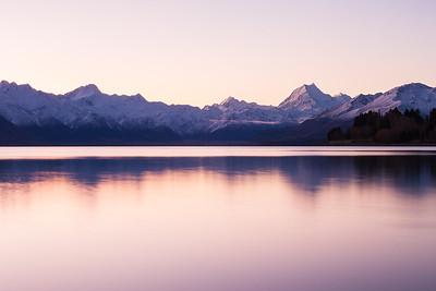 Southern Alps & Lake Pukaki during calm winter evening, Mackenzie Basin, Canterbury