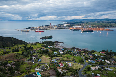 Marsden Point Oil Refinery and Reotahi Bay, Whangarei Harbour, Northland