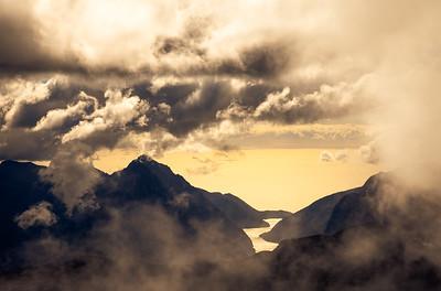 Milford Sound/Piopiotahi and Mitre Peak from Mount Underwood, Fiordland National Park