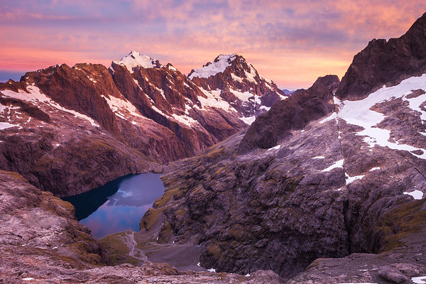 Sunrise over the Central Darran Mountains and Lake Turner, Fiordland National Park