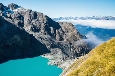 Donne Glacier Lake outlet, Glacier Creek, Darran Mountains, Fiordland National Park, New Zealand