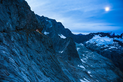 Climbers camped at Turners Eyrie, Darran Mountains, Fiordland National Park