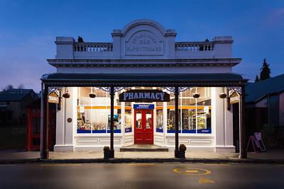 Arrowntown pharmacy in evening light, Otago