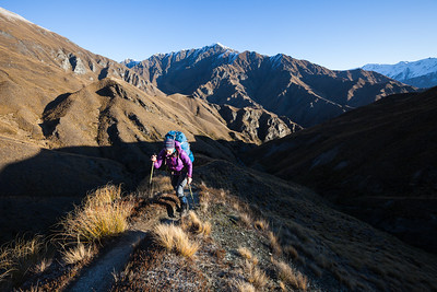Tramper on the Motatapu Track, Otago