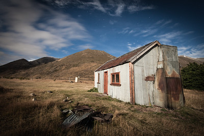 Fowlers Hut by moonlight. An historic hut on the Hanmer - St Arnaud Road