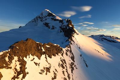 The North West Ridge of Mount Aspiring. Therma Glacier on left, Bonar Glacier on right. Mount Aspiring National Park