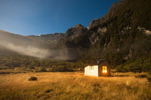 Moonlight, Christmas Flat Hut. Karangarua Valley, Westland