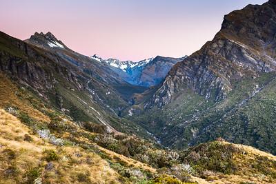 Douglas Valley. Pioneer Peak at left, then Mt Brunner, Mt Thomson and the Gladiator