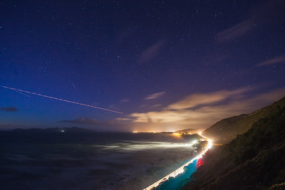 Centennial Highway and lights of Paekakariki by night, with Kapiti Island in distance, Kapiti Coast