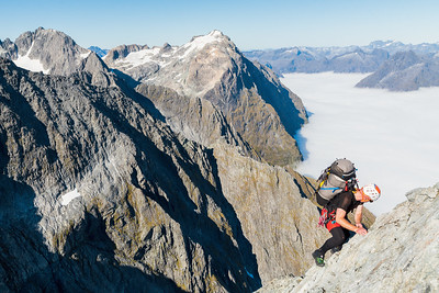 A mountaineer climbing without rope on the south ridge of Mount Tarewai, Darran Mountains, Fiordland National Park, New Zealand