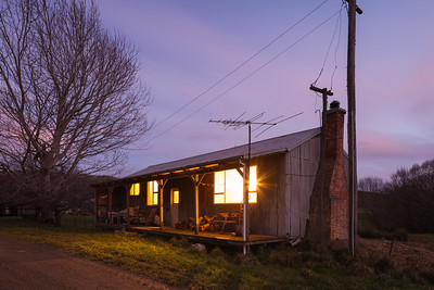 Farmers cottage in early evening, Mount Linton, Southland