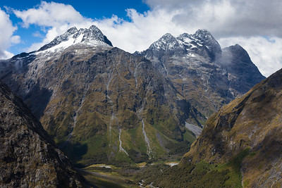 Mt Crosscut (left) and Christina from Homer Saddle, Upper Hollyford Valley, Fiordland National Park