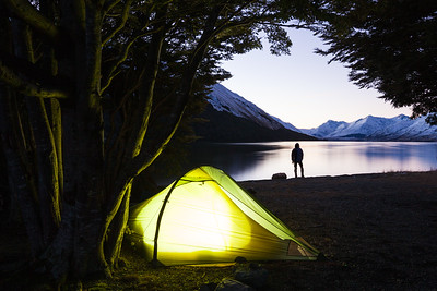 Winter camp on shore of North Mavora Lake, Southland