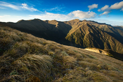 Dress Circle & Mount Hector. False Spur rght of centre. Tararua Range