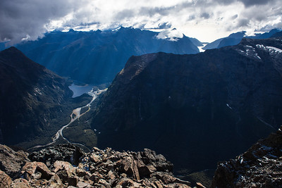 Cleddau Valley and Deepwater Basin from Mount Underwood, Fiordland National Park