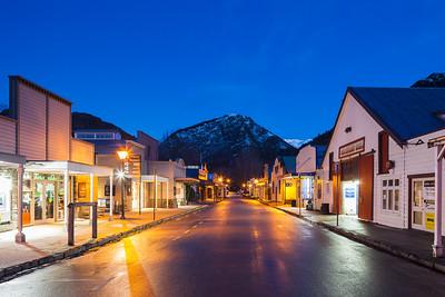 Arrowtown main street, winter evening, Otago