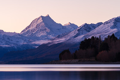 Aoraki Mount Cook & Lake Pukaki during calm winter evening, Mackenzie Basin, Canterbury
