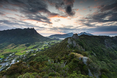 Whangarei Heads peaks of Mount Aubrey, Manaia and Mount Lion. Whangarei, Northland