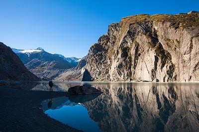 The Douglas Glacier Terminal Lake below the slopes of The Gladiator, Westland Tai Poutini National Park