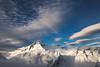 Evening cloud over Mount Aspiring, Mount French and the Bonar Glacier. Mount Aspiring National Park
