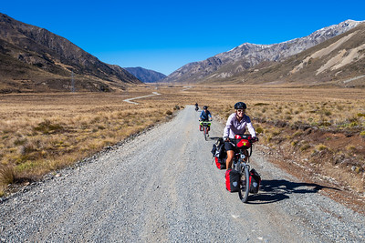 Three cyclists on the Hanmer-St Arnaud Road