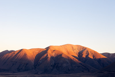Evening light fading off the Harper Range, Lake Clearwater, Canterbury High Country