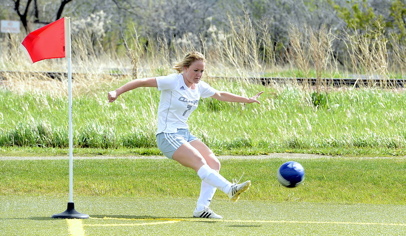 Olivia Swan of Resurrection Christian fires off a corner kick during Thursday's match with Valley at Loveland Sports Park. (Mike Brohard/Loveland Reporter-Herald)